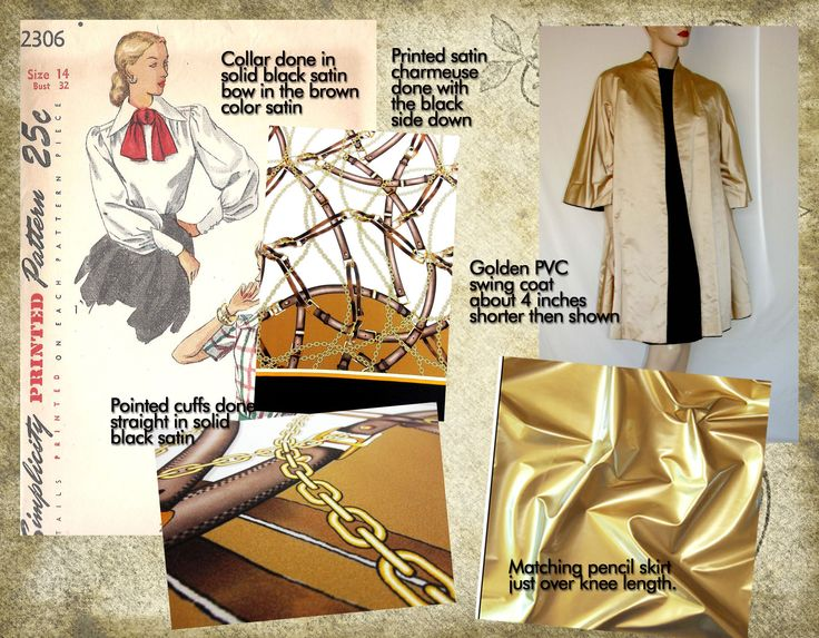 Golden walking suit with matching blouse