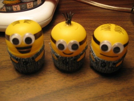 minions. Made from kinder egg shells