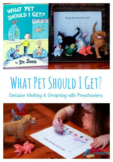 Have you read Dr. Seuss's latest book: What Pet Should I Get?  It provides a great platform to talk to preschoolers about decision making, and we turned it into a great math and graphing activity