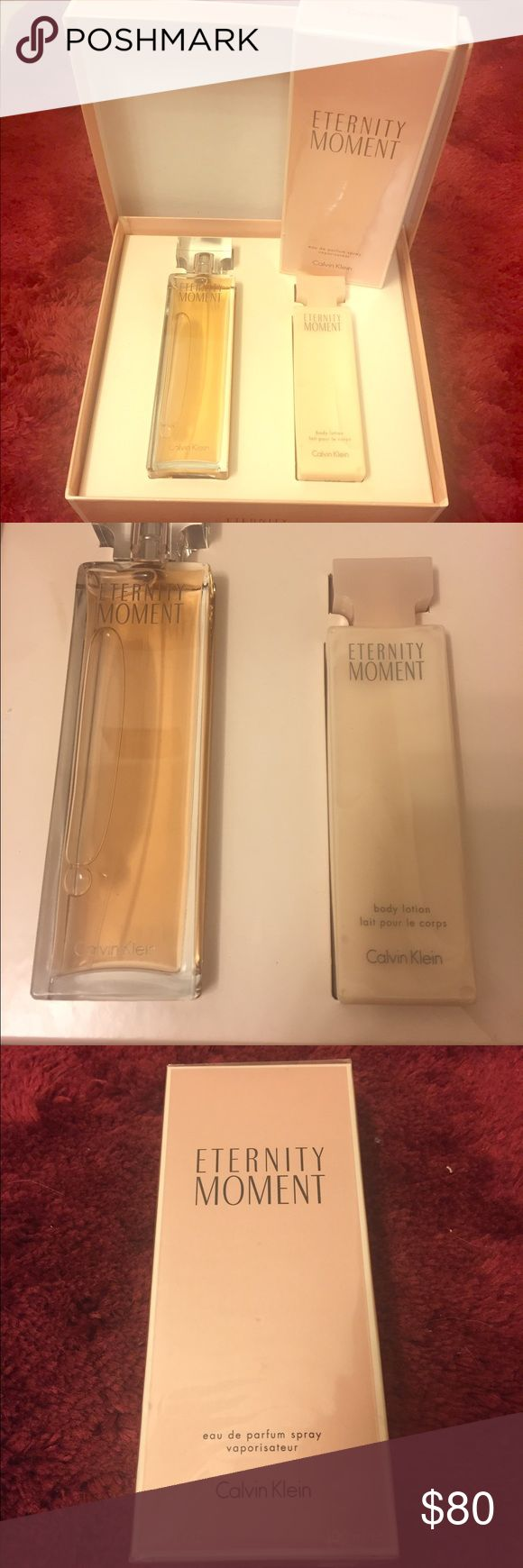 Eternity Moment Perfume Eternity Moment perfume gift set (spray and lotion) with an extra big bottle of spray. All brand new never used and never opened. Calvin Klein Other