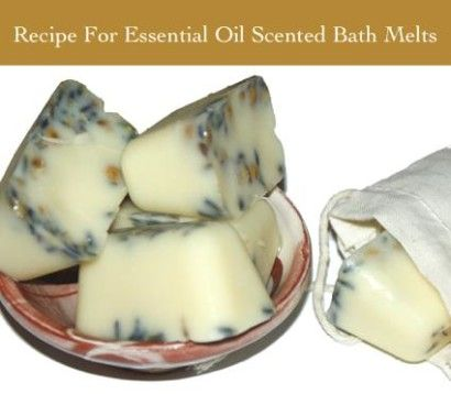 Lemon Lavender Scented Bath Melts Recipe - with shea and cocoa butters, essential oils & lavender and chamomile flowers