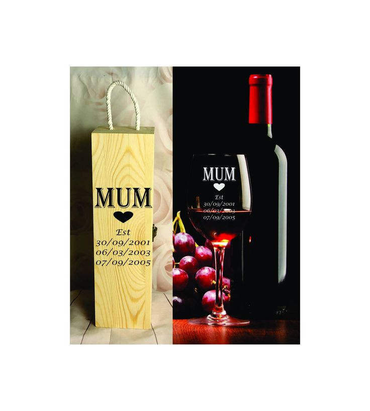 410ml Wine Glass + Wine Gift Box - Personalised Engraved - Mothers Day - Design 9 by SJDesigns78 on Etsy