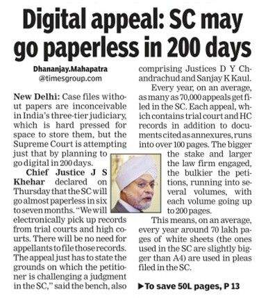 To decrease the hard pressed space, the Chief Justice of India J S Khekar declared that the Supreme Court is attempting to go digital in 200 days.