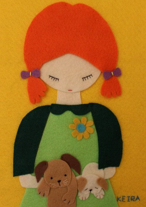 Handmade Felt Cute Child Portrait Puppies Dogs Animals by Gaoui