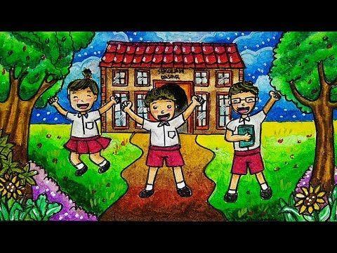 Cara Menggambar Sekolah Tema Masuk Sekolah Youtube Warna Sekolah Cara Menggambar Gambar