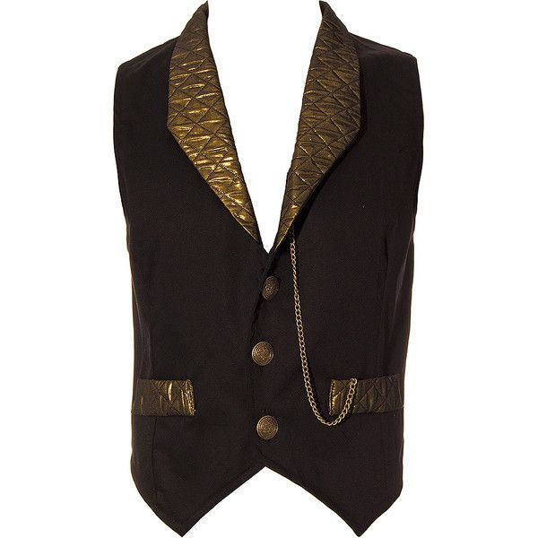 Golden Steampunk Duke Quilted Waistcoat (Black/Gold) ($62) ❤ liked on Polyvore featuring outerwear, vests, men, vest waistcoat, waistcoat vest, quilted vest, steam punk vest and steampunk vest