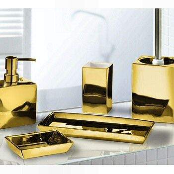 Luxurious and elegant this porcelain bath accessory set for Gold toilet accessories