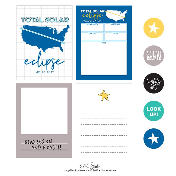 Document the solar eclipse with this free printable! There are 9 tags, in .png and .pdf files for your digital or hybrid scrapbooking. You can also print directly from the pdf that is included so you can print them over and over again! For personal use only.
