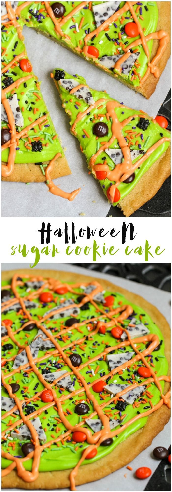 Simple and delicious Halloween Sugar Cookie Cake with a homemade cream cheese frosting. It's the perfect Halloween dessert!