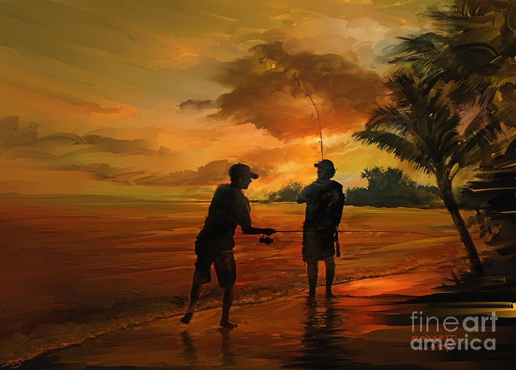 Dad And Son Fishing | Father And Son Fishing Painting - Father And Son Fishing Fine Art ...