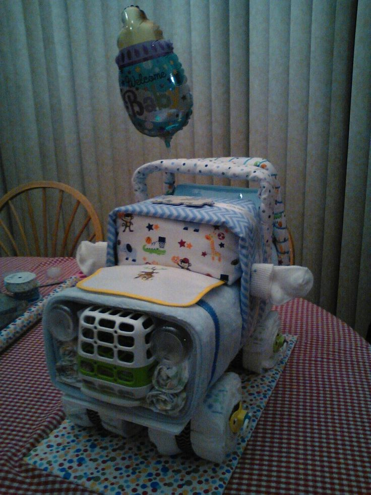 Jeep Diaper Cake | baby shower | Pinterest | Diapers