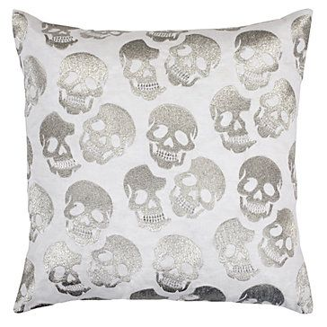 A stylish and edgy touch. Skull Pillow in Silver, $79.95 #ZGallerie