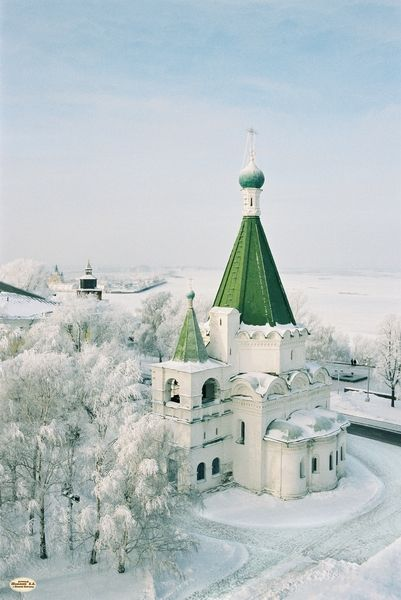 Green steepled church in snow ✿⊱╮