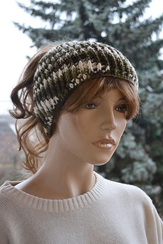 Messy Bun Hat Beanie Crocheted Ponytail Hole Hat lovely warm, #MessyBunHat,#womancap, #crochetBeanie