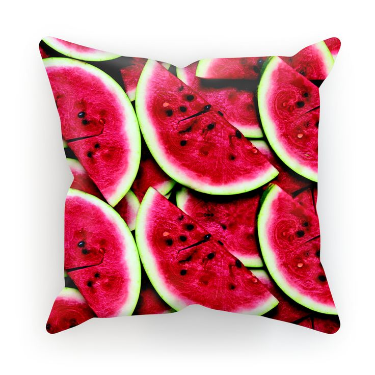 Watermelon Invasion Cushion  We're not sure what's better... the thought of a juicy slice of watermelon right now or the eye-popping pink of this cushion. Either way, this melon's flesh has got us craving some sweet fruit.    Our cushions are made of soft faux-suede material and the outer case has a concealed zipper for easy removal.
