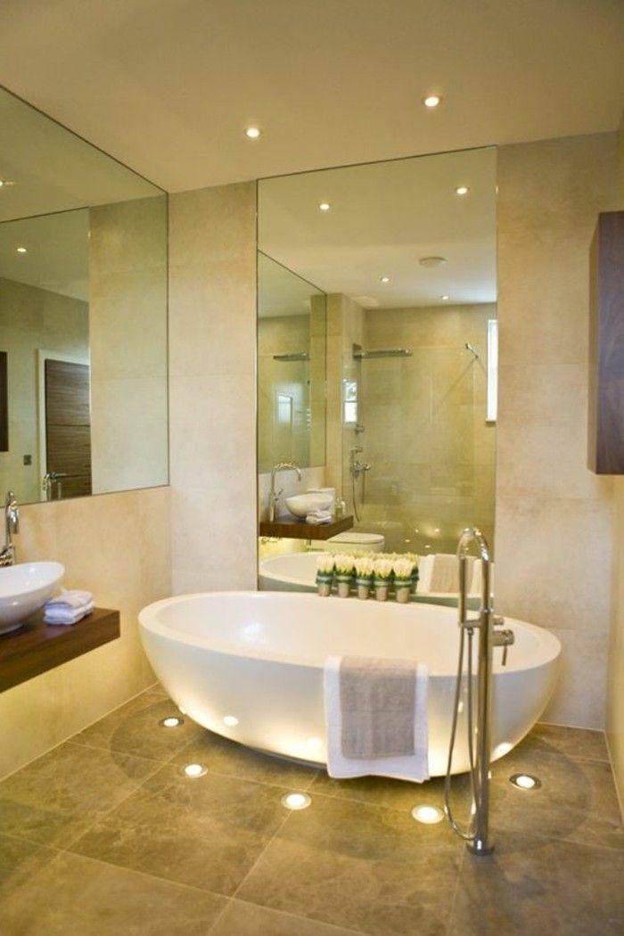 schone bader badgestaltung ideen badezimmer in beige mit weiser badewanne anschauen