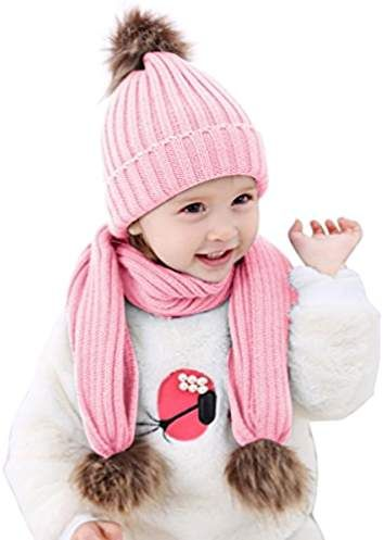 oenbopo 2pcs Baby Winter Hat Scarf Set-Infant Toddler Baby Girls Boys Knit  Warm Cap   Scarf Neck Warmers Suit dc275b6f9
