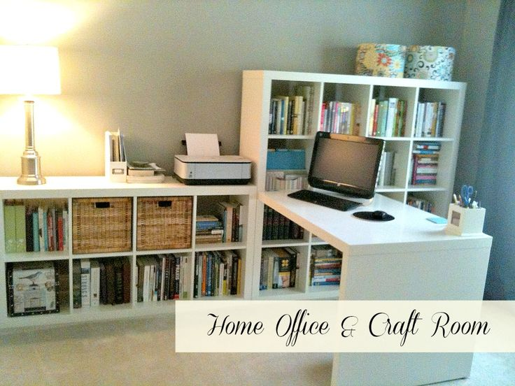 Home office craft room ikea expedit desk and bookcases