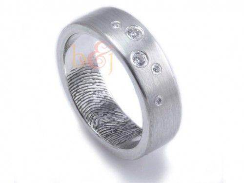 Simple Scattered Diamonds Custom Fingerprint Wedding or Commitment Band by Brent u Jess Custom Handmade Fingerprint