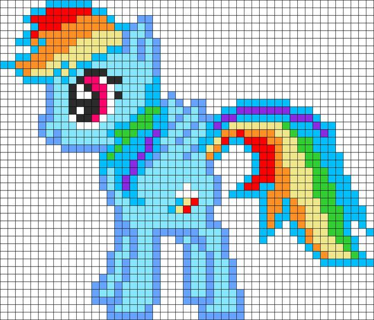 Rainbow Dash My Little Pony Perler Bead Pattern / Bead Sprite