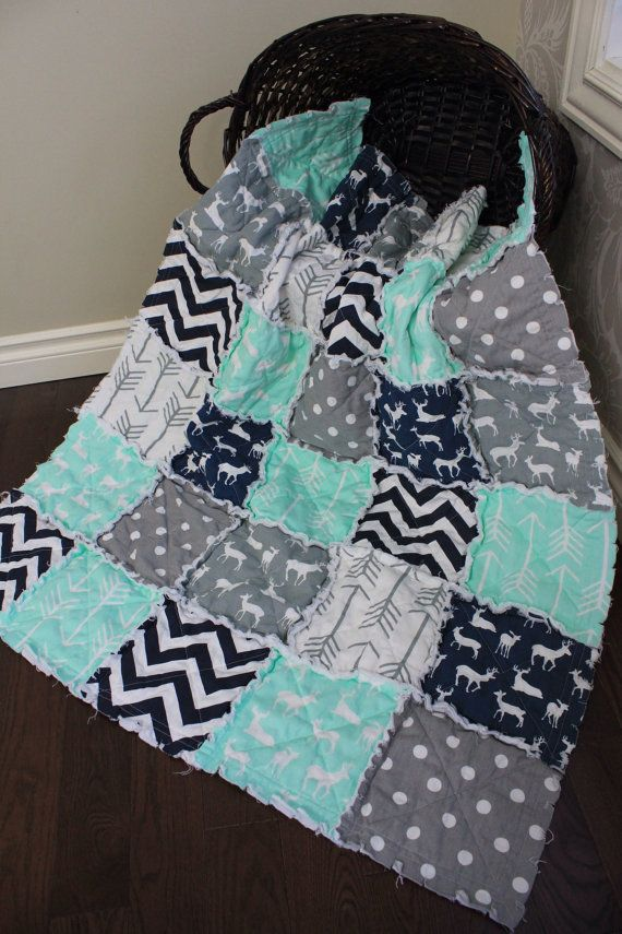 Rag Quilt, Baby Rag Quilt, Crib Blanket, Premier Prints, Mint And Navy, Arrow, Deer Quilt, Ready To Ship