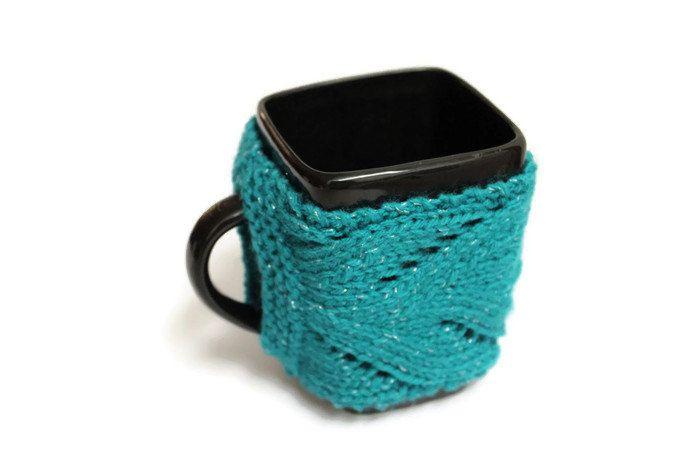 Teal Mug Cozy - pinned by pin4etsy.com