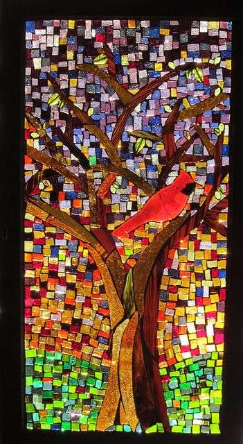 Mosaic glass bird art
