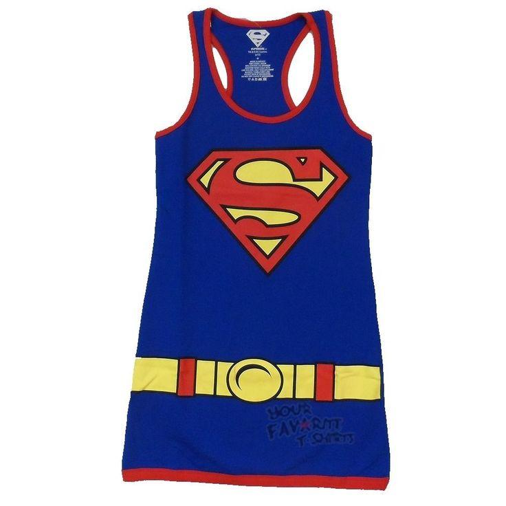 Superman Supergirl Character Costume Dc Comics Licensed Tunic Tank Dress S-Xl