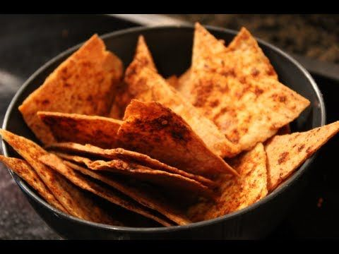 Homemade Oven-Baked Tortilla Chips  5 whole wheat tortillas  1 tbsp. olive oil  3 tbsp. lemon juice  Spices of your choice  Cut each tortilla into 8 parts. Pour olive oil n lemon juice into a spray bottle + shake Take baking sheet and spray with cooking spray. Lay out tortilla chips. Spray chips with the oliveoil n lemon juice. Put spices(fiesta lime seasoning) Put in oven for 8 min at 350F then take out and flip over each tortilla and put into oven for 6-8 min again.