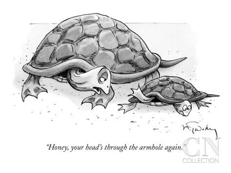 """Honey, your head's through the armhole again."" - New Yorker Cartoon Poster Print by Mike Twohy, condenaststore #Cartoon #Humor"