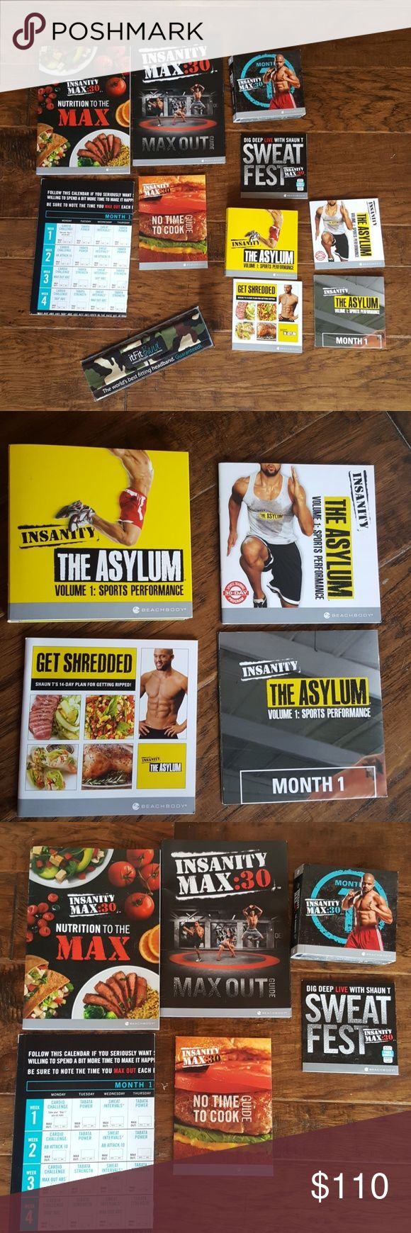 Bundle of Fitness Insanity!! Amazing fitness bundle deal!!  Included: 1) Shaun T's sports program The Asylum.  6 DVD's/bonus workouts 2) Workout calendar 3) 14 day nutrition plan 4) Progress tracker 5)  Shaun T's Insanity Max 30. 12 cardio workouts on 10 DVD's. Each workout only 30 minutes long. No equipment needed  6) Bonus DVD Sweat Fest Workout  7) Maxout Guide 8) Ab Maximizer workout calendar 9) Insanity Nutrition to the Max guide;  10) No Time to Cook Nutrition Guide 11) It Fit camo…