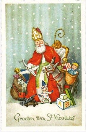 Sint Nicolaas deelt uit