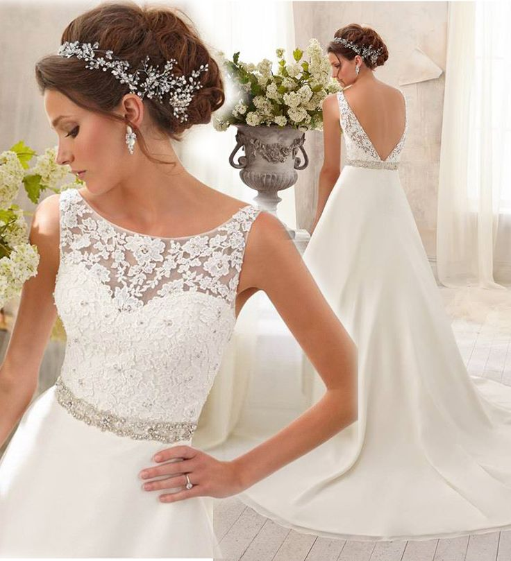 2016 neckline lace applique rhinestone sash Open Back bride yarn taffeta wedding dress beads