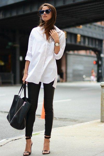 Blusa con pantalón de cuero