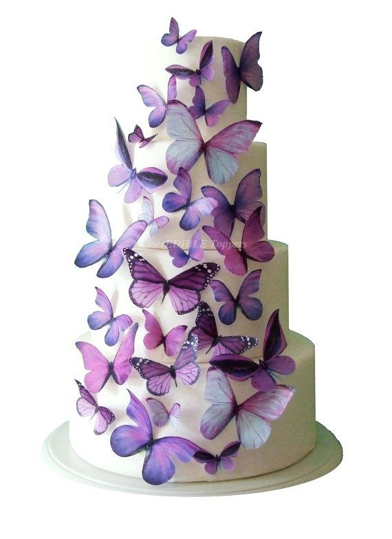 BROOKIE MUST HAVE. Wedding Cake Topper - Edible Butterfly WEDDING DECORATIONS - 30 Purple Edible Butterflies for Cakes and Cupcakes