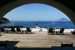 AEOLIAN ISLANDS, Italy –It's best to hike up the volcano at night, stopping off for dinner ata restaurant close to the top. People cheer when the lava explodes in the sky. It's like organic dinner theater.