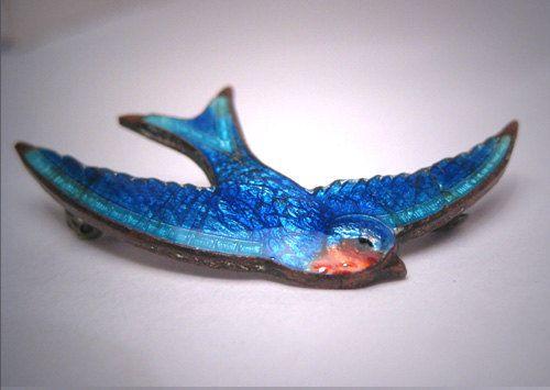 Antico vittoriano Guilloche smalto uccello Pin Spilla Blue