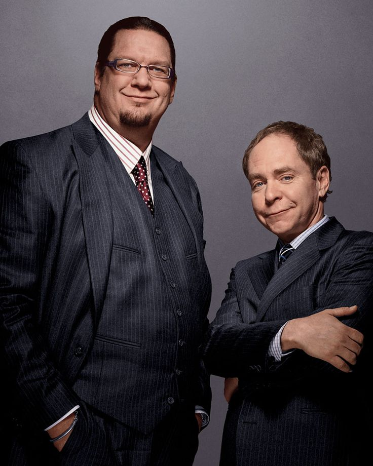❥ Penn and Teller (entertainers, illusionists, and magicians, best known for their Las Vegas shows at the Rio Hotel and Casino, also known for television shows such as Fool Us on ITV)