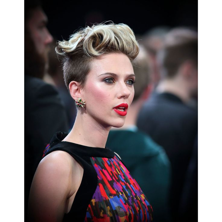 We love Scarlett Johansson's 2015 bleached-out, punked-up version of the crop: a buzzed undercut with fluffy, hot-roller curls. Worn with contoured blush and edgy matte red lips, the look is as glamorous as it is rebellious.