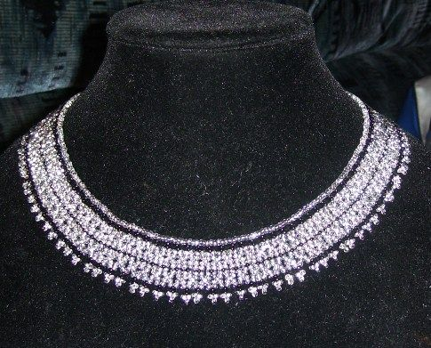 Silver and black glass bead netted collar. One inch wide.    www.facebook.com/teristreasures