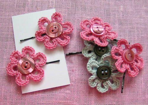 crochet craft fair ideas | Crochet flower hair slides with button detail - made for a craft fair ...