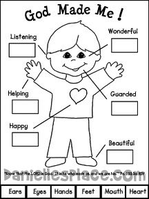 God Made Me Activity Sheet for Sunday School and Children's Church from www.daniellesplace.com
