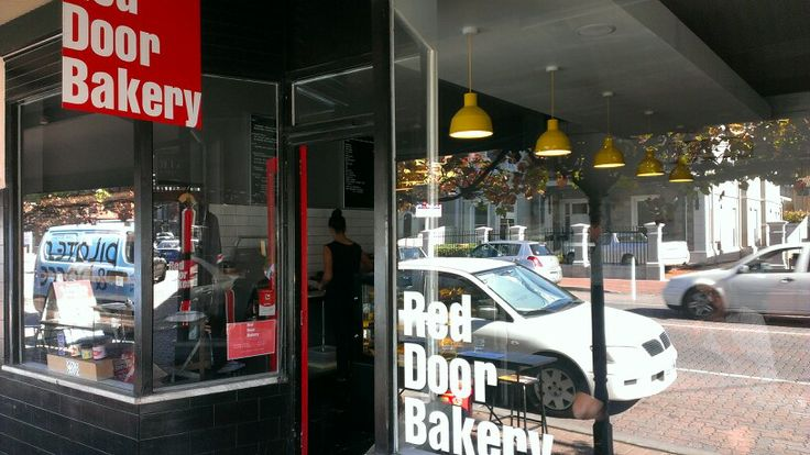 #2 - 21/May/14  Red Door Bakery - 54a King William Road, Goodwood . Comprehensive lunch options incl. office delivery service, Had vego spicy burger, with quince muffin, coffee - busy location, -  pay it a visit If ur around Goodwood, Love the atmosphere!, GF Friendly. ++++
