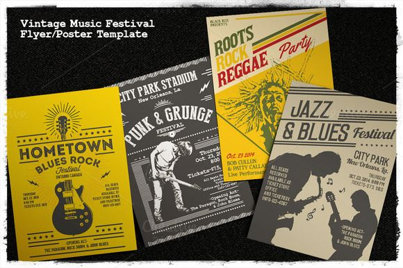 Vintage Music Festival Flyer/Poster by Rooms Design Shop on Creative Market