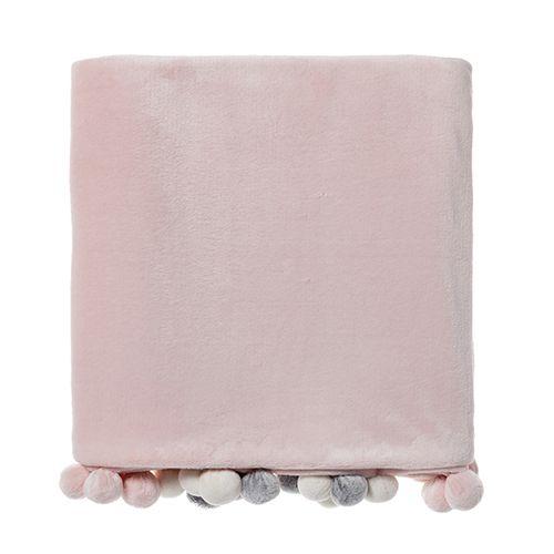 Peppy Pom Pom Throw Pale Pink