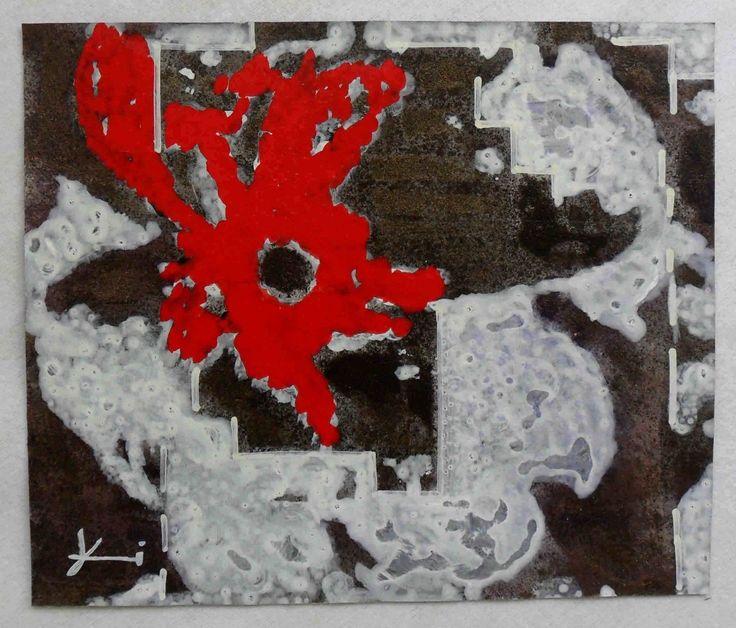 """g.a.zanussi, """"in rosso"""" arte polimaterica quadro 25x30 opera su carta, 2010"""