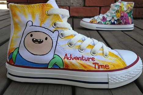 Anime Shoes Adventure Time shoes kids shoes paint canvas shoes,High-top Painted Canvas Shoes