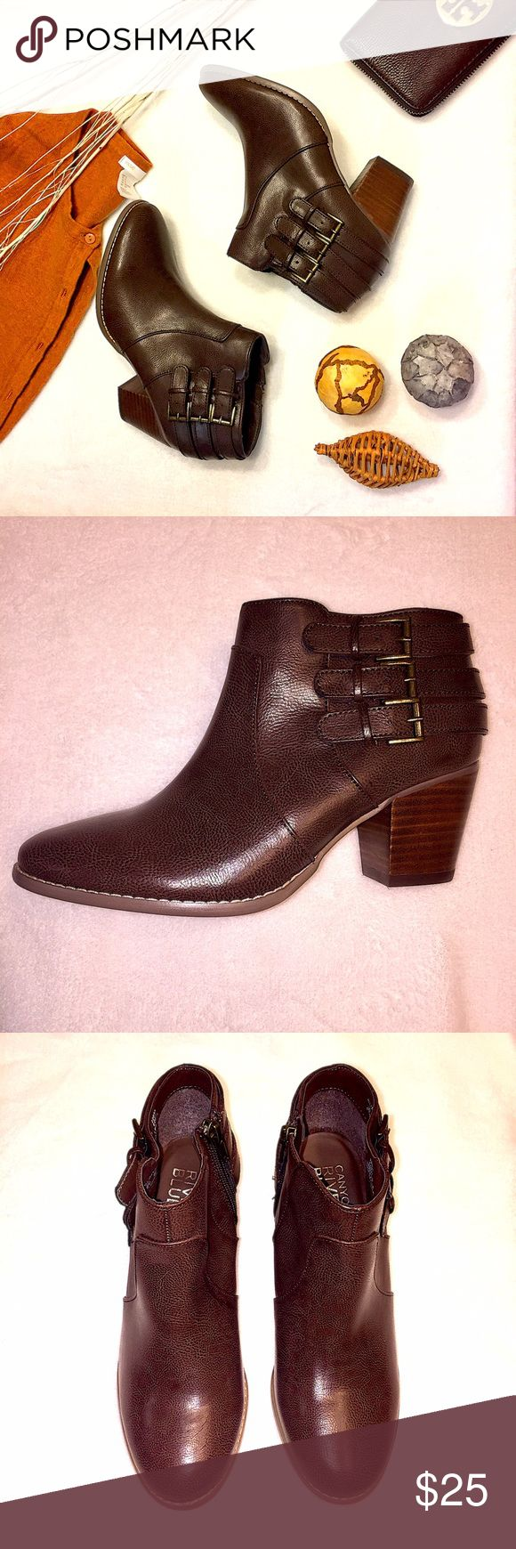 🛍Canyon River Blues Ankle Booties🛍 New! Never used. 2.25 in heel height. 3 adjustable buckles. Side zipper. Synthetic leather. With original box. Shoes Ankle Boots & Booties