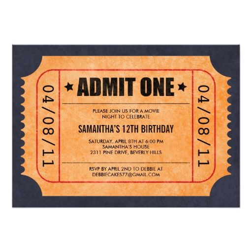 Best Ticket Invitations Images On   Ticket Invitation