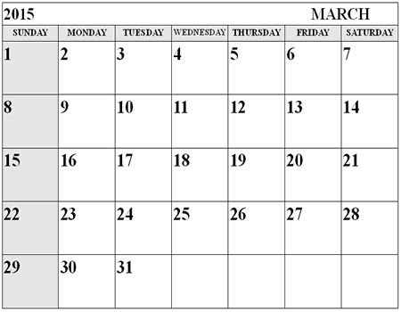 Best Collection of March 2015 Printable Calendar Template. Cute March 2015 Calendar With Holidays Canada, UK, USA and Printable Pdf, Word, Excel, Doc.